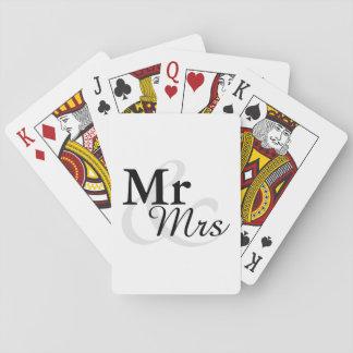 Mr&Mrs Simple Elegant Typography Wedding Favor Playing Cards