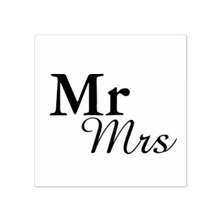 Mr&Mrs Simple Elegant Typography Wedding Favor Rubber Stamp