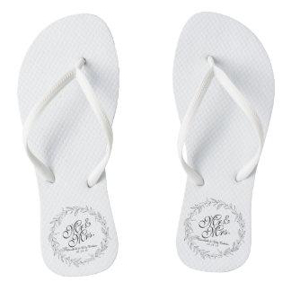 Mr. & Mrs. Simple Floral Wedding Flip Flops