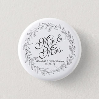 Mr. & Mrs. Simple Floral Wedding Pin Button
