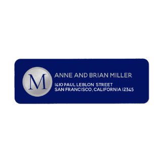 mr mrs surname monogram blue