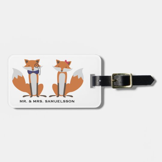 Mr. & Mrs. travel Luggage Tag | Foxes