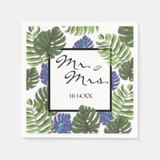 Mr & Mrs Tropical Modern Floral Cocktail Napkin Disposable Serviettes