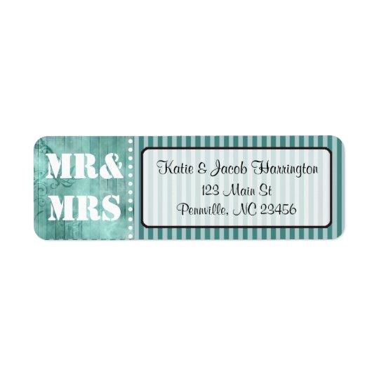 Mr & Mrs Turquoise Return Address Labels
