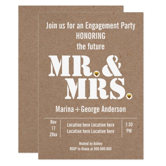 Mr & Mrs typography kraft wedding engagement party