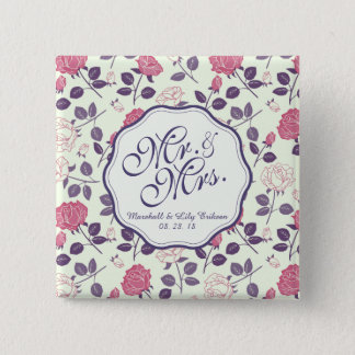 Mr. & Mrs. Vintage Floral Wedding Pin Button