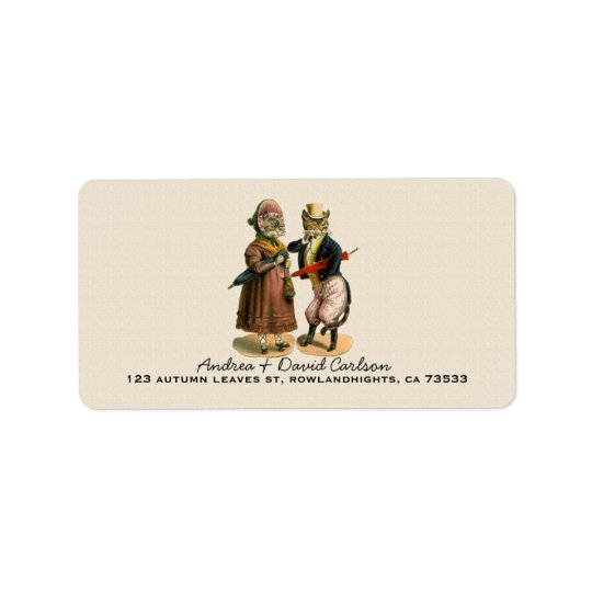 Mr.& Mrs. Vintage Well-dressed Kitty Cat Address Label