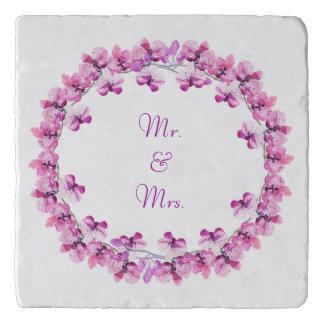 Mr. & Mrs. Violet Water Colour Orchid Trivet