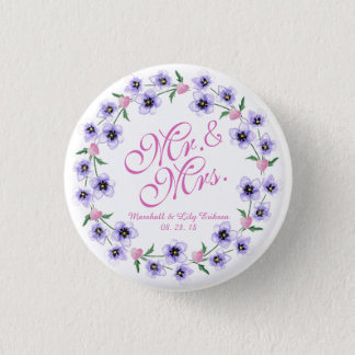 Mr. & Mrs. Watercolor Floral Wedding Button
