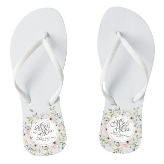 Mr. & Mrs. Watercolor Wedding Flip Flops