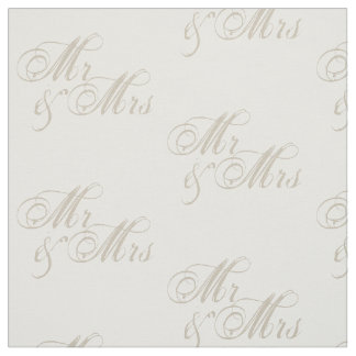 Mr&Mrs Wedding Celebration White Fabric