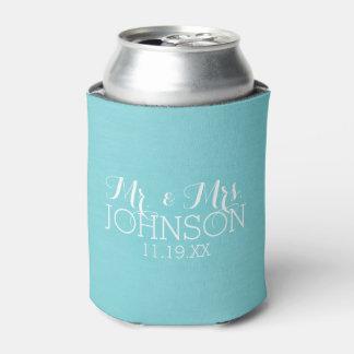 Mr & Mrs Wedding Favor - Pastel Teal Blue Can Cooler