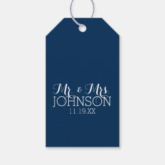 Mr & Mrs Wedding Favor Solid Color Navy Blue