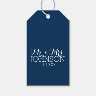 Mr & Mrs Wedding Favor Solid Color Navy Blue Gift Tags
