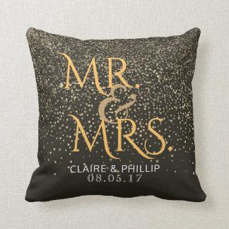 Mr. & Mrs. Wedding Monogram Elegant Gold Confetti Cushion