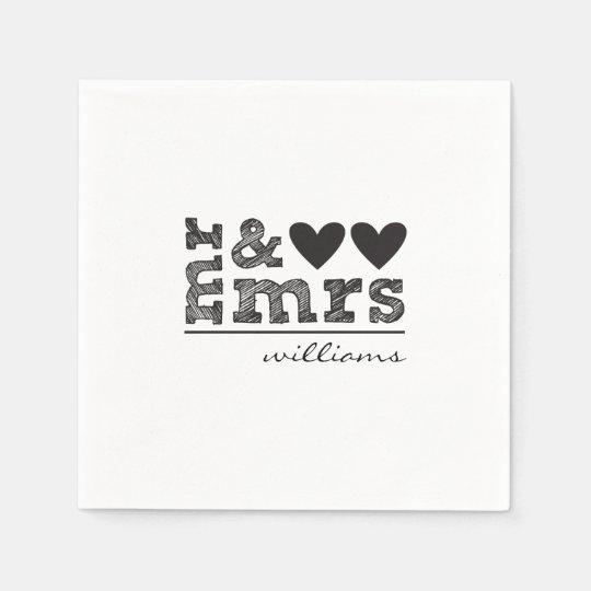 Mr & Mrs Wedding Napkins Paper Serviettes