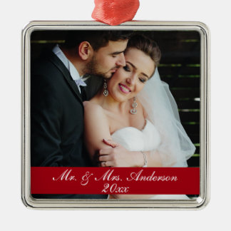 Mr. & Mrs. Wedding Photo Christmas Year Ornament S