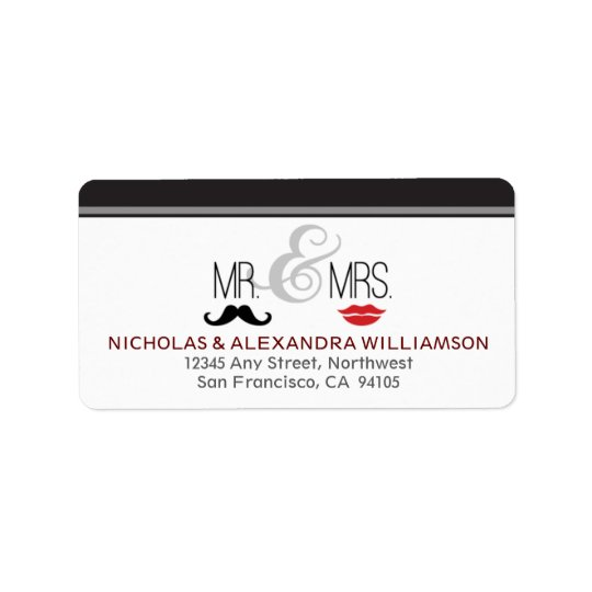 Mr. & Mrs. Wedding Return Address Labels (black)