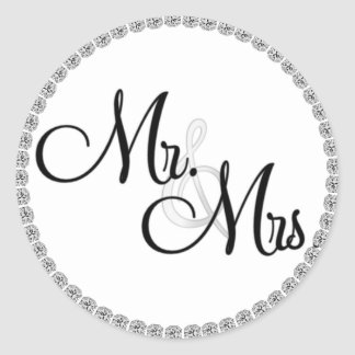 Mr & Mrs. Wedding SEALS/STICKERS BLING Classic Round Sticker