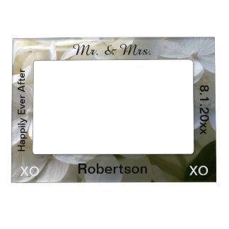 Mr. & Mrs. White Floral Wedding Frame Picture Frame Magnets