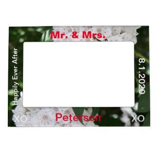 Mr. & Mrs. White Mountain Laurel Wedding Frame Photo Frame Magnet