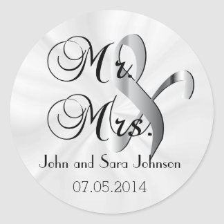 Mr & Mrs White Wedding | Personalize Round Sticker