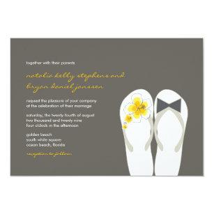 bdbd03ae49c328 Mr   Mrs Yellow Flip Flops Beach Wedding Invite