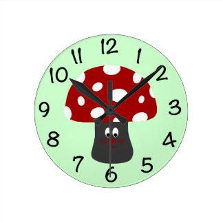 Mr Mushroom Round Clock