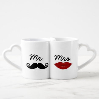 Mr. Mustache and Mrs. Lips with custom monogram Coffee Mug Set