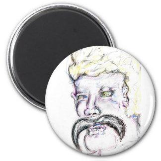 Mr Mustachio Heraclitus 6 Cm Round Magnet