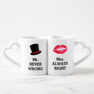 Mr Never Wrong, Mrs Always Right Funny Couple Coffee Mug Set