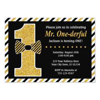 Mr. ONEderful Birthday Invitation • Black and Gold