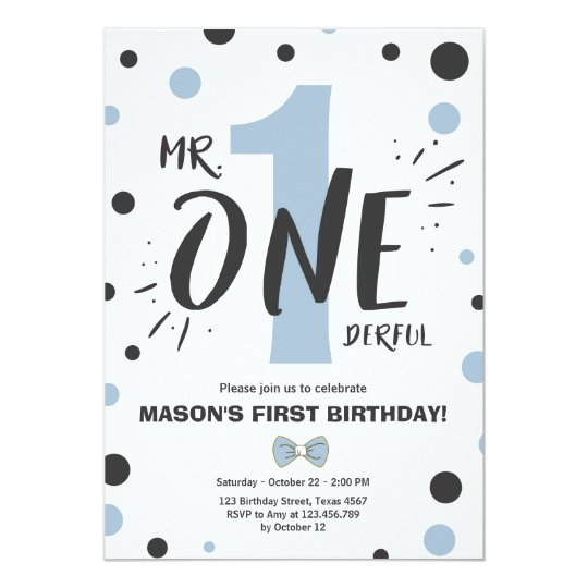 Mr onederful birthday invitation Boy Black Blue