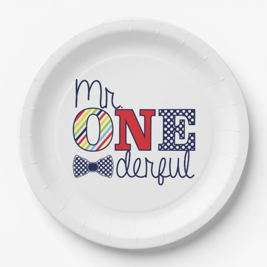 Mr. ONEderful Birthday Party - Paper Plates 9""