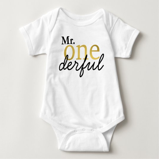Mr Onederful Black and Gold Baby Shirt