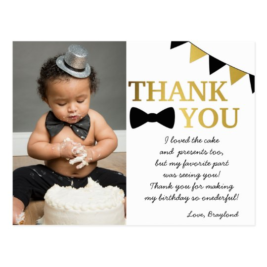 Mr Onederful Black and Gold Thank You Postcard