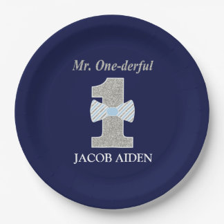 Mr. ONEderful Custom Paper Plates 9""