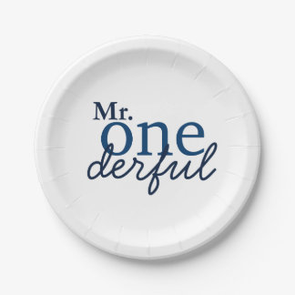 Mr Onederful Party Plates 7 Inch Paper Plate