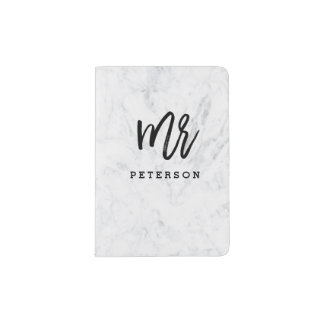 Mr passport black typography white marble passport holder