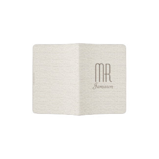 """Mr"" Passport Holder, Off White Faux Textured Passport Holder"