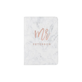 Mr passport rose gold typography white marble passport holder