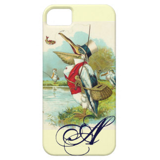 MR PELICAN FISHING MONOGRAM,cream iPhone 5 Covers