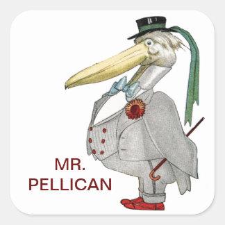 MR. PELICAN SQUARE STICKER