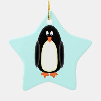Mr Penguin Ceramic Star Decoration