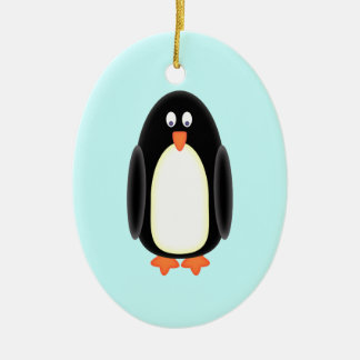 Mr Penguin Double-Sided Oval Ceramic Christmas Ornament
