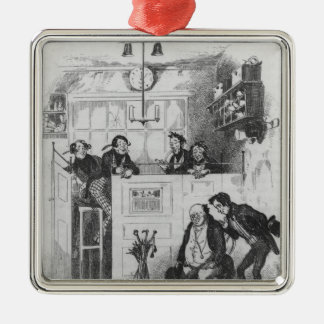 Mr. Pickwick and Sam in the attorney's office Silver-Colored Square Decoration