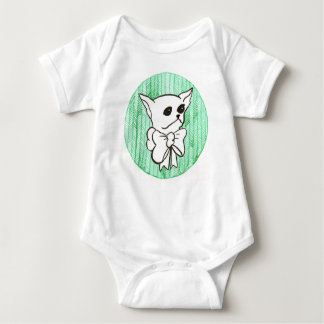 Mr. PiddlePoo the Chihuahua, a vision in green Baby Bodysuit