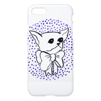 Mr. PiddlePoo the Chihuahua, purple polka dots iPhone 8/7 Case