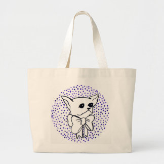 Mr. PiddlePoo the Chihuahua, purple polka dots Large Tote Bag