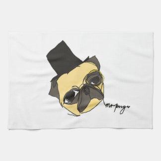 Mr pug tea towel